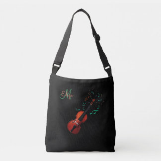 Monogram Violin and Music Notes Tote Bag