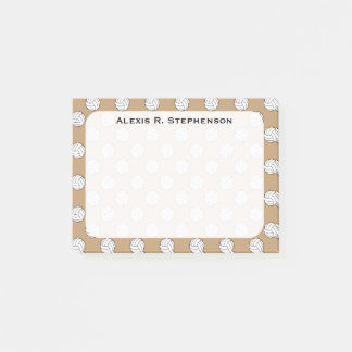 Monogram Volleyball Balls on Camel Brown Post-it Notes