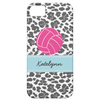 Monogram Volleyball Gray Leopard Print Phone Case