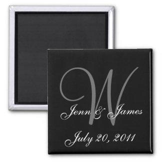 Monogram W Wedding Bride Groom Date Magnet