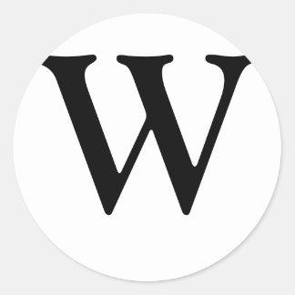 Monogram W Wedding Seal Sticker