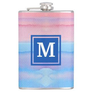 Monogram Watercolor Blue Pink Ombre Gradation Flasks