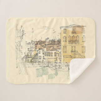 Monogram. Watercolor. Canal in Venice Italy. Sherpa Blanket