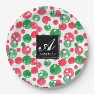 Monogram Watercolor Dots Holiday Green and Red Paper Plate
