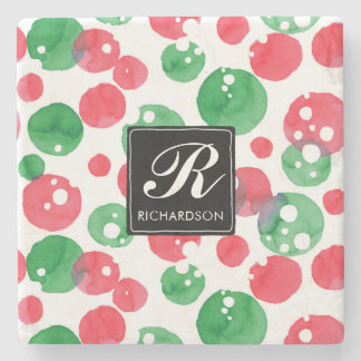 Monogram Watercolor Dots Holiday Green and Red Stone Coaster