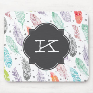 Monogram Watercolor Feather Pattern Mousepad