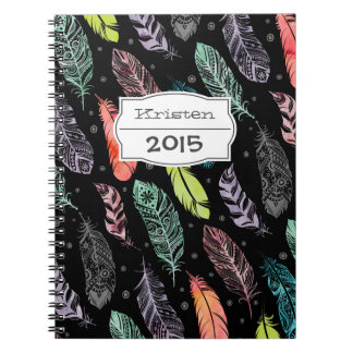 Monogram Watercolor Feather Pattern Notebook
