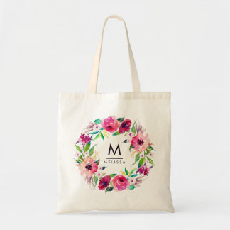 Monogram Watercolor Floral Stylish Chic Modern