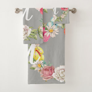 Monogram Watercolor Floral Wreath Bath Towel Set