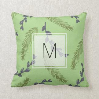 Monogram Watercolor Leaves Throw Pillow - Green