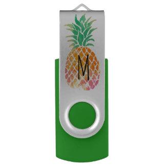 monogram watercolor pineapple USB flash drive