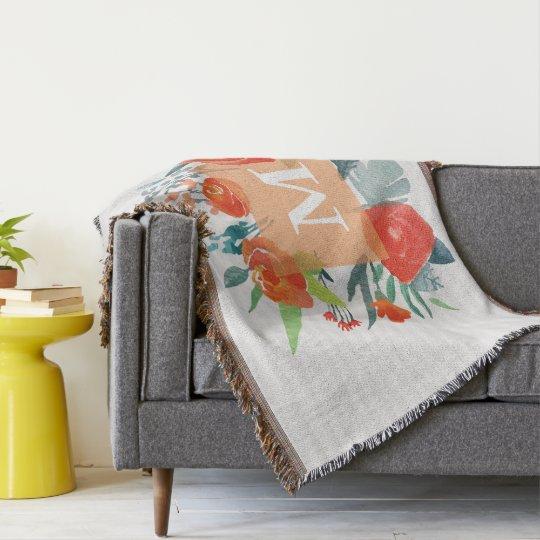 Monogram. Watercolor Roses. Flowers. Throw Blanket