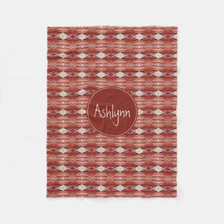 Monogram Watercolor Sienna Aztec Tribal Pattern Fleece Blanket