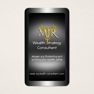 Monogram, Wealth Strategy Consultant, metal-look Business Card