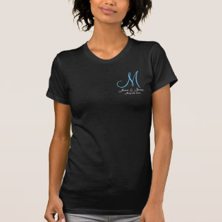 Monogram Wedding Announcement Blue & White T-Shirt