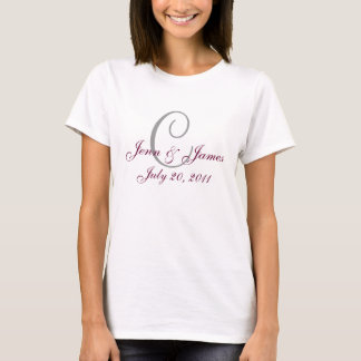 Monogram Wedding Announcement Grey & Wine T-Shirt