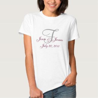 Monogram Wedding Announcement Grey & Wine T-Shirt