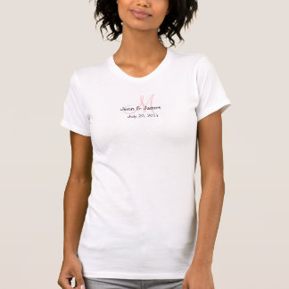 Monogram Wedding Announcement Pink & White T-Shirt