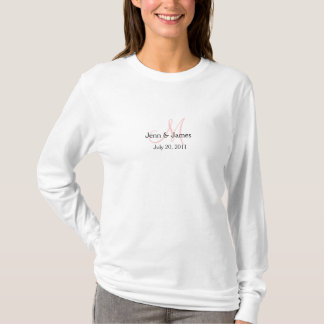 Monogram Wedding Announcement White & Pink Hoodie