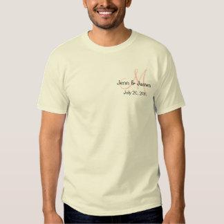 Monogram Wedding Announcement White & Pink Shirt