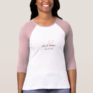 Monogram Wedding Announcement White & Pink T-Shirt