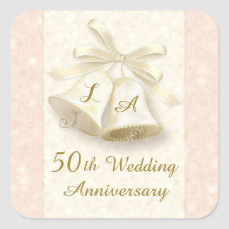 Monogram Wedding bells Golden Anniversary Sticker