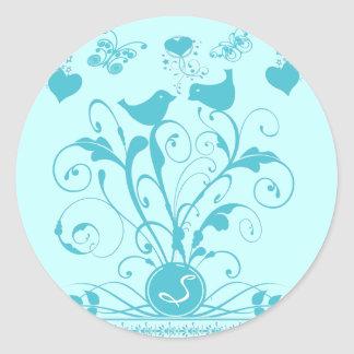 Monogram Wedding Birds change colors Classic Round Sticker