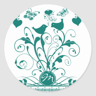 Monogram Wedding Birds Hearts Swirls Deep Aqua Classic Round Sticker