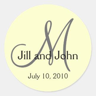Monogram Wedding Bride Groom Date Cream Sticker