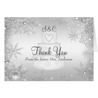 Monogram Wedding Cake Bridal Shower Thank You Card