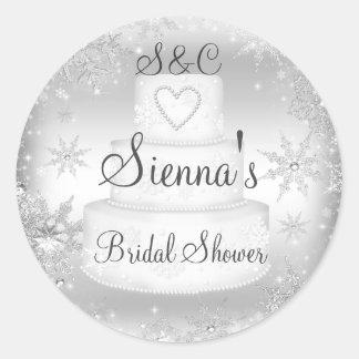 Monogram Wedding Cake Silver Bridal Shower Sticker