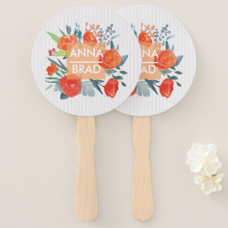 Monogram. Wedding Couple Names on Red Roses. Hand Fan