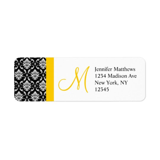 Monogram Wedding Damask Return Address Labels