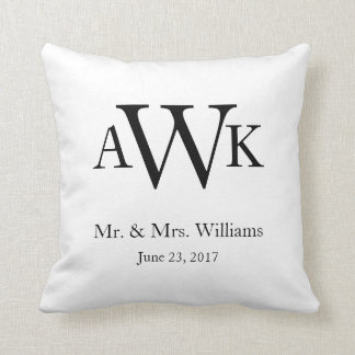 Monogram Wedding Date Pillow2 Throw Pillow