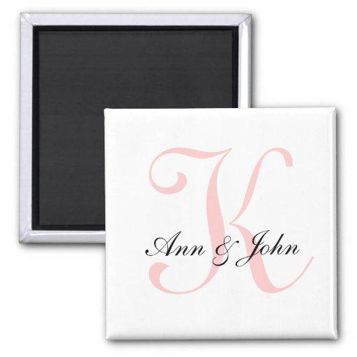 Monogram Wedding Initial Bride Groom Names Magnet