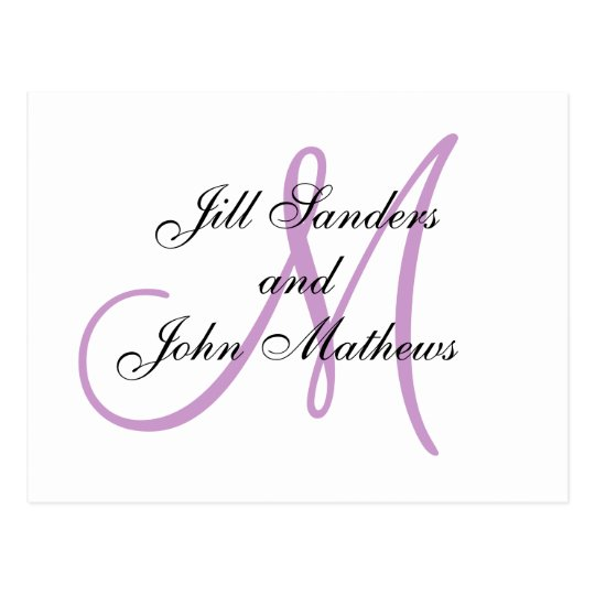 Monogram Wedding Initial White and Lilac Card