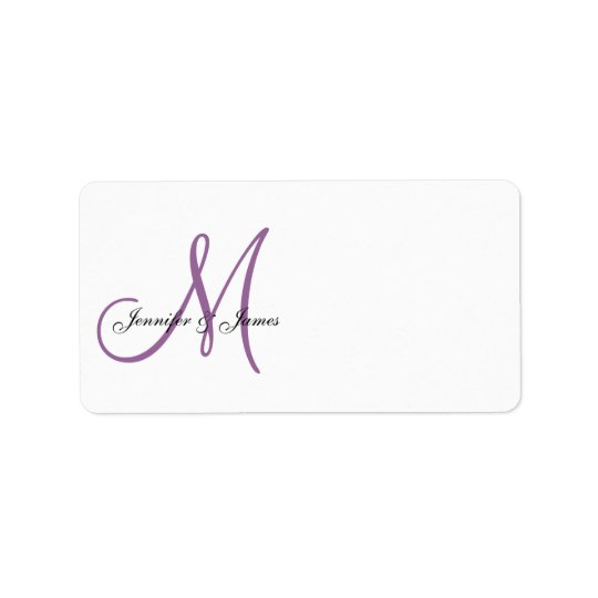 Monogram Wedding Invitation Address Labels Purple