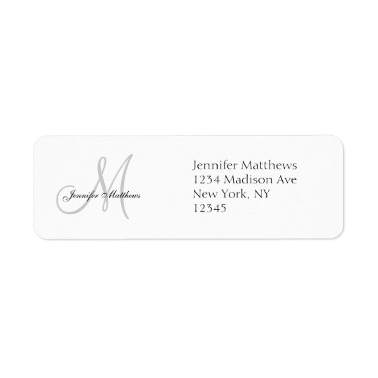 Monogram Wedding Invitation Simple Address Labels