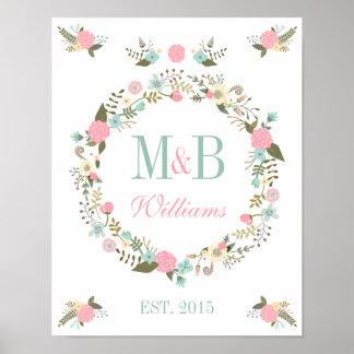 Monogram wedding poster print Floral boho wedding