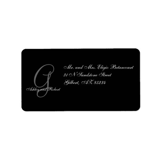 Monogram Wedding RSVP Address Labels