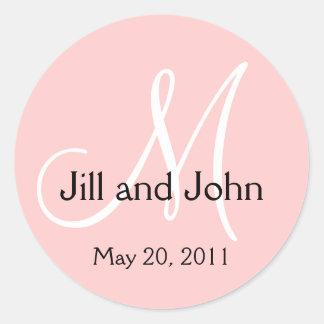 Monogram Wedding Save the Date Pink Sticker