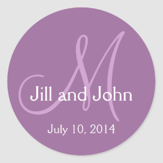 Monogram Wedding Save the Date Stickers Purple
