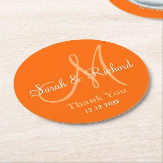 Monogram Wedding Thank You Orange Round Paper Coaster