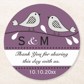 Monogram Wedding Thank You Purple Love Birds Round Paper Coaster