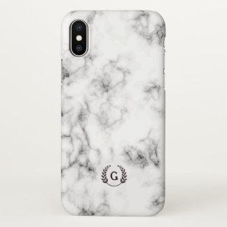 Monogram. Wheat Laurel. Black & White Marble. iPhone X Case