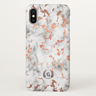 Monogram. Wheat Laurel. Copper on White Marble. iPhone X Case