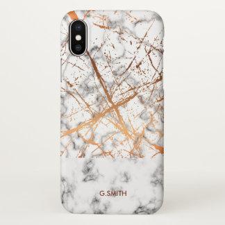 Monogram. Wheat Laurel. Copper on White Marble. iPhone X Case