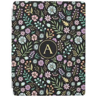 Monogram Whimsical Flowers Black iPad Smart Cover iPad Cover