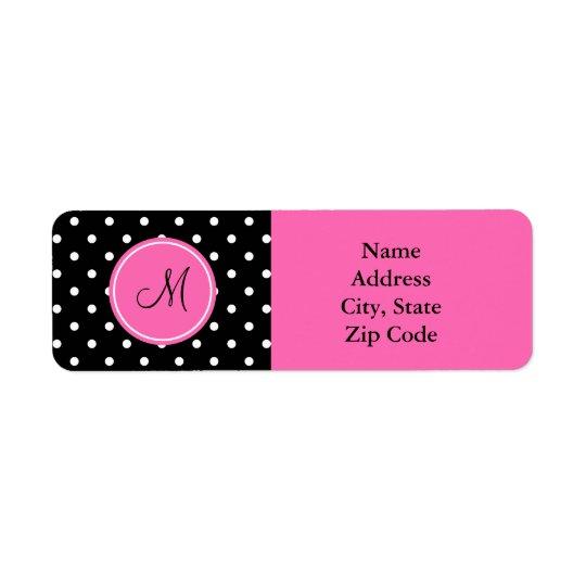 Monogram White and Black Polka Dot Pattern Return Address Label