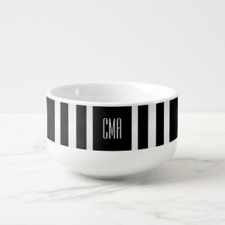 Monogram White and Black Stripe Soup Bowl With Handle